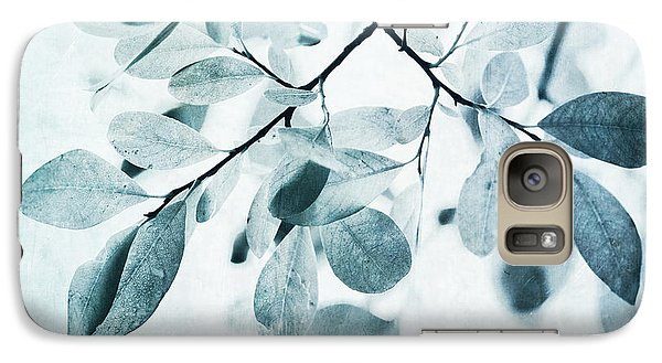 Leaves In Dusty Blue Galaxy Case by Priska Wettstein
