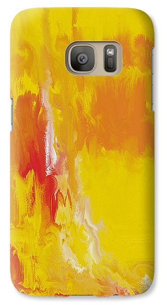 Galaxy Case featuring the painting Lemon Yellow Sun by Roz Abellera Art