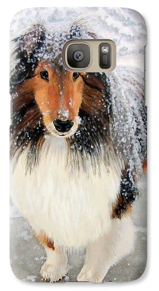 Galaxy Case featuring the painting Leo In The Snow by Sandra Chase