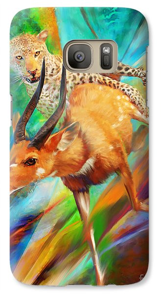 Galaxy Case featuring the painting Leopard Attack by Rob Corsetti