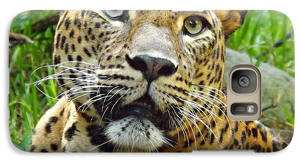 Galaxy Case featuring the photograph Leopard Face by Clare Bevan