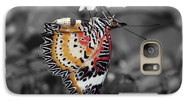 Galaxy Case featuring the photograph Leopard Lacewing Butterfly Dthu619bw by Gerry Gantt