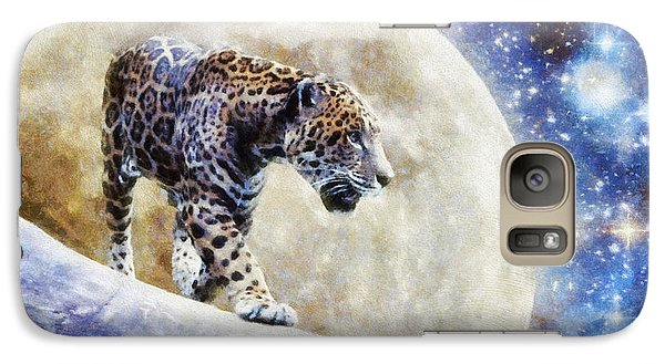 Galaxy Case featuring the painting Leopard Moon by Greg Collins