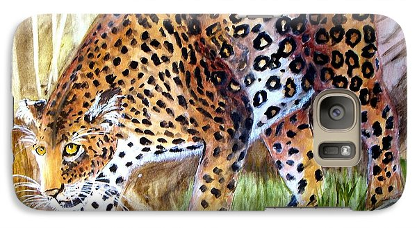 Galaxy Case featuring the painting Leopard On The Loose by Carol Grimes