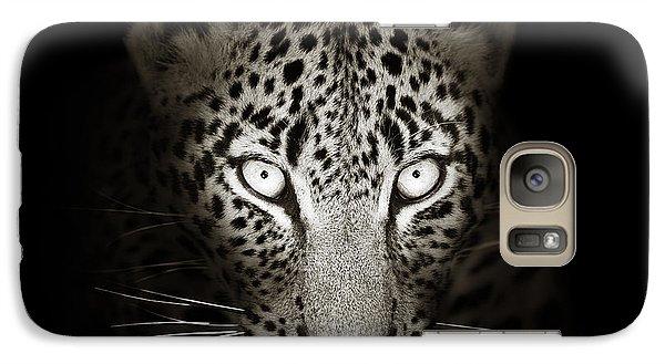 Cat Galaxy S7 Case - Leopard Portrait In The Dark by Johan Swanepoel