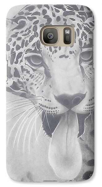 Galaxy Case featuring the drawing Leopard by Wil Golden