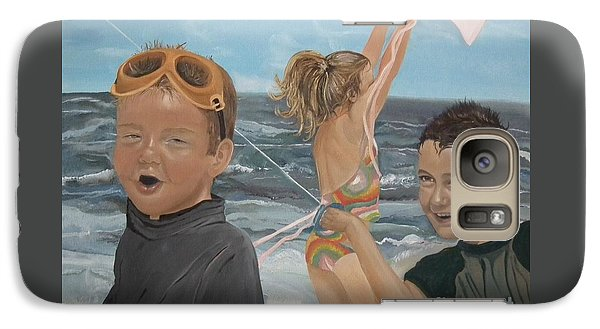 Galaxy Case featuring the painting Beach - Children Playing - Kite by Jan Dappen