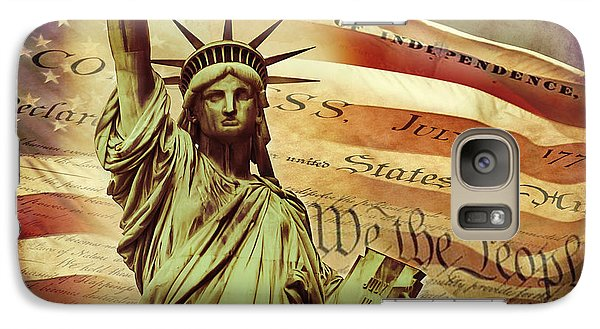 Statue Of Liberty Galaxy S7 Case - Declaration Of Independence by Az Jackson