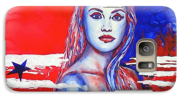 Galaxy Case featuring the painting Liberty American Girl by Anna Ruzsan