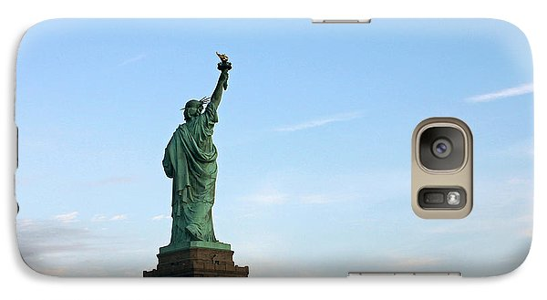 Galaxy Case featuring the photograph Liberty And Moon by Jose Oquendo