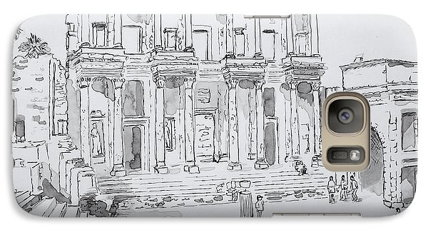 Galaxy Case featuring the painting Library At Ephesus by Marilyn Zalatan