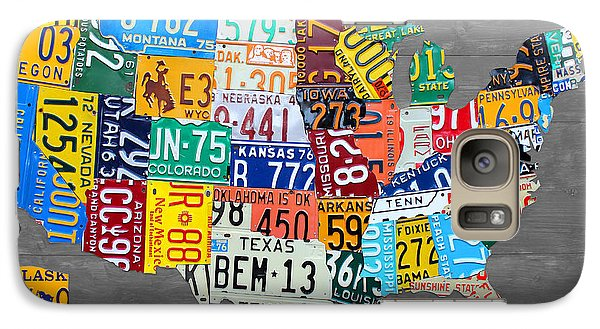 License Plate Map Of The United States On Gray Wood Boards Galaxy Case by Design Turnpike