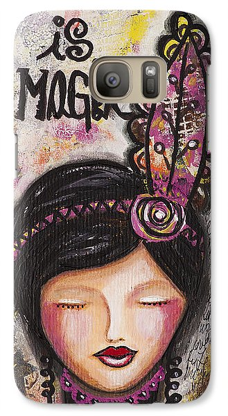 Galaxy Case featuring the mixed media Life Is Magic Uplifting Collage Painting by Stanka Vukelic