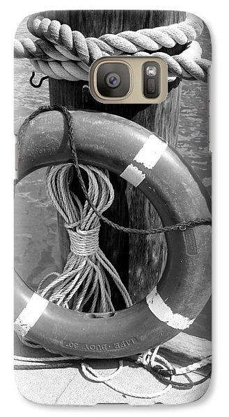 Galaxy Case featuring the photograph Lifesaver - Black And White by Ellen Tully