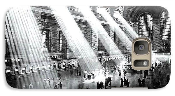 Galaxy Case featuring the photograph Light Beams Grand Central Station 1929 by Merton Allen