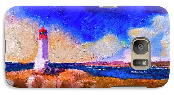 Galaxy Case featuring the painting Light House At Peggys Cove by Ted Azriel