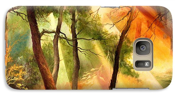 Galaxy Case featuring the painting Light In The Forest by Mikhail Savchenko
