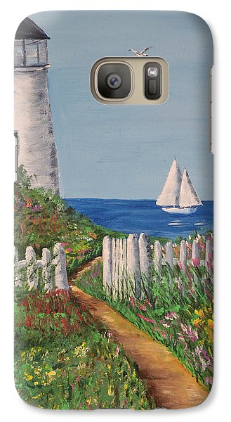 Galaxy Case featuring the painting Light On The Hill by Debbie Baker
