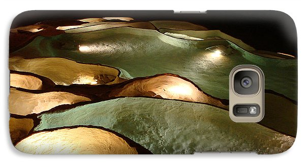 Galaxy Case featuring the photograph Light Up The Dark - Lit Natural Rock Water Basins In Underground Cave by Menega Sabidussi