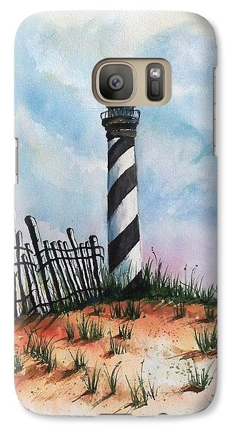 Galaxy Case featuring the painting Lighthouse And Fence by Richard Benson