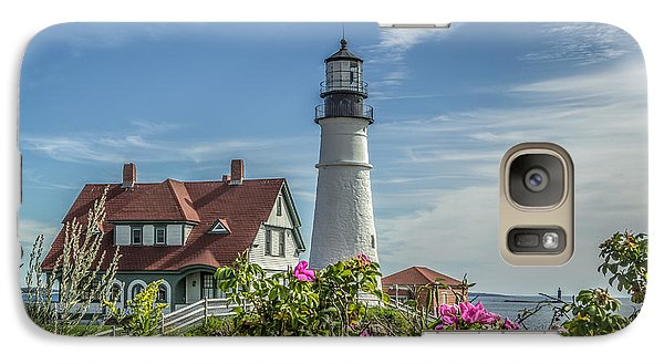 Galaxy Case featuring the photograph Lighthouse And Wild Roses by Jane Luxton