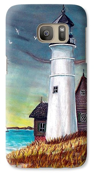 Galaxy Case featuring the painting Lighthouse by Debbie Baker