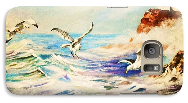 Galaxy Case featuring the painting Lighthouse Gulls And Waves by Al Brown