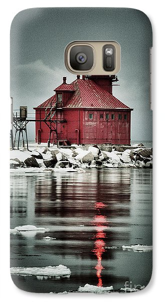 Galaxy Case featuring the photograph Lighthouse In The Darkness by Mark David Zahn Photography
