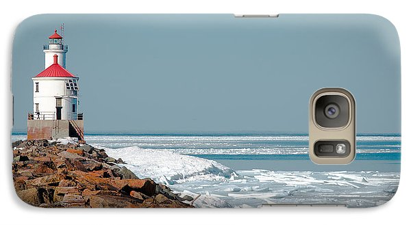 Galaxy Case featuring the photograph Lighthouse On Stone And Ice by Mark David Zahn