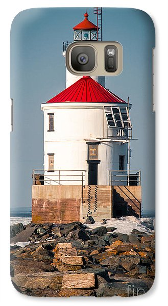 Galaxy Case featuring the photograph Lighthouse On The Rocks by Mark David Zahn