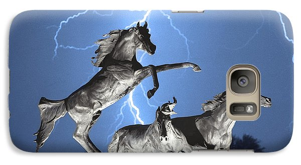 Lightning At Horse World Bw Color Print Galaxy S7 Case by James BO  Insogna