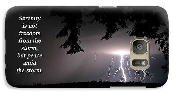 Galaxy Case featuring the photograph Lightning At Night - Inspirational Quote by Barbara West