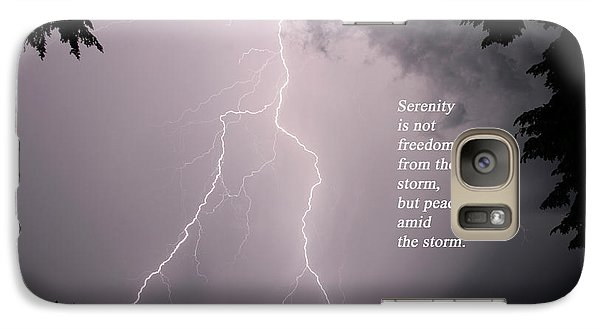 Galaxy Case featuring the photograph Lightning At The Lake - Inspirational Quote by Barbara West