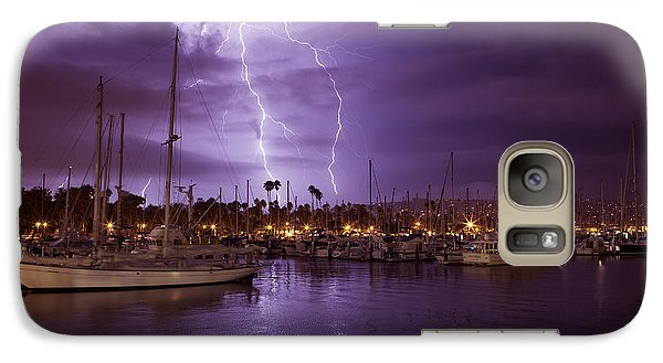 Galaxy Case featuring the photograph Lightning Behind Santa Barbara Harbor  Mg_6541 by David Orias