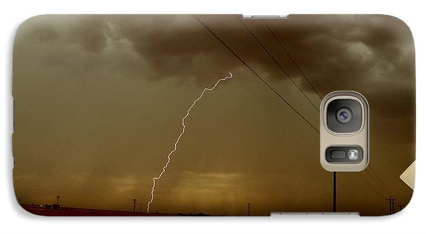 Galaxy Case featuring the photograph Lightning Strike In Oil Country by Ed Sweeney