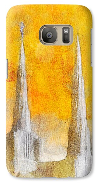 Galaxy Case featuring the painting Like A Fire Is Burning - Panoramic by Greg Collins