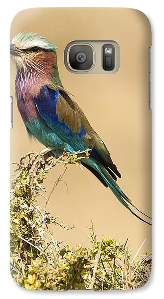 Galaxy Case featuring the photograph Lilac Breasted Roller by Phyllis Peterson
