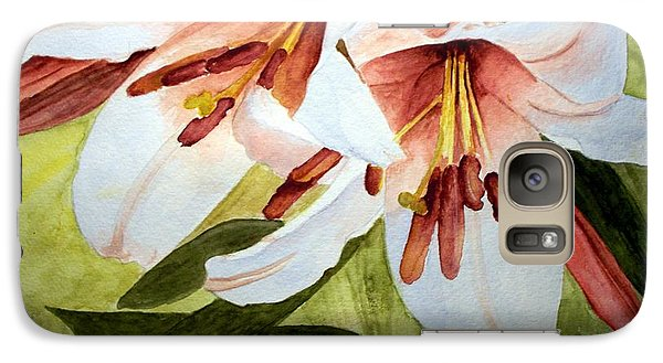 Galaxy Case featuring the painting Lilies In The Garden by Carol Grimes