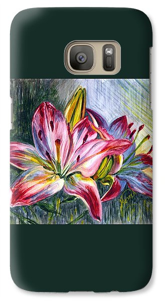Galaxy Case featuring the painting Lilies Twin by Harsh Malik