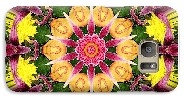 Galaxy Case featuring the photograph Lily And Chrysanthemums Flower Kaleidoscope by Rose Santuci-Sofranko