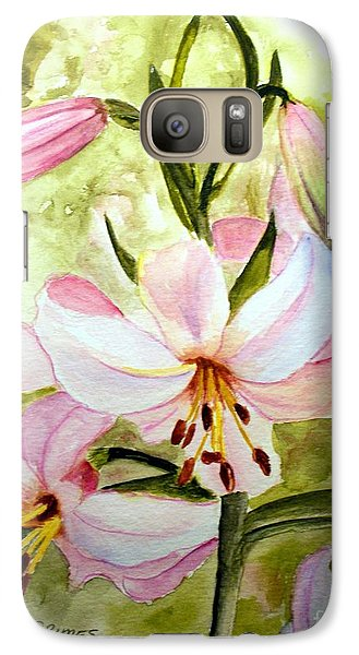Galaxy Case featuring the painting Lily In Pink by Carol Grimes