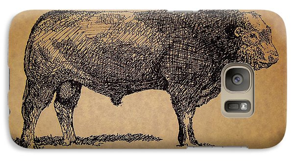 Galaxy Case featuring the drawing French Limousine Bull by Larry Campbell