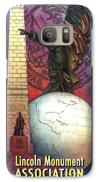 Galaxy Case featuring the painting Lincoln Monuments Street Banners Civil War Flag Bearer by Jane Bucci