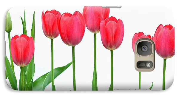 Galaxy Case featuring the photograph Line Of Tulips by Steve Augustin