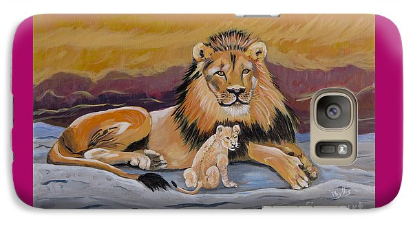 Galaxy Case featuring the painting Lion And Cub by Phyllis Kaltenbach