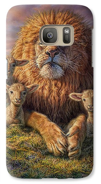 Lion Galaxy S7 Case - Lion And Lambs by Phil Jaeger