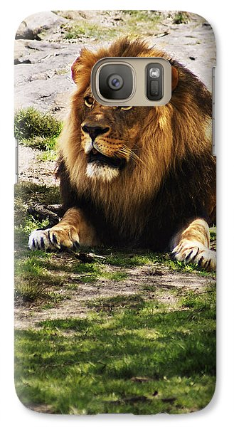 Galaxy Case featuring the photograph Lion At Rest by B Wayne Mullins