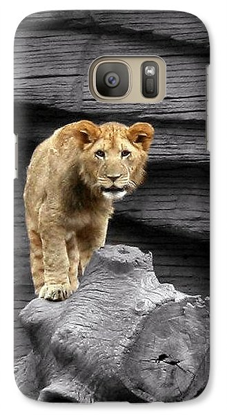 Galaxy Case featuring the photograph Lion Cub by Cathy Harper