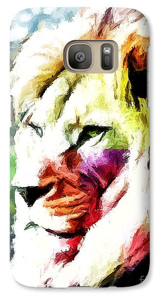 Galaxy Case featuring the painting Lion - Leone by Ze  Di