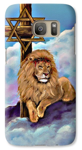 Galaxy Case featuring the painting Lion Of Judah At The Cross by Bob and Nadine Johnston